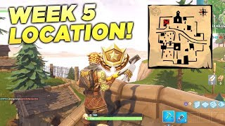 """Follow the treasure map found in Snobby Shores"" Fortnite Location Week 5 Season 5 Battle Star!"