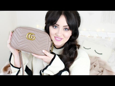 2ab087ad4d7 What s In My Bag   What Fits ! Gucci Marmont Matelassé Shoulder Bag ...