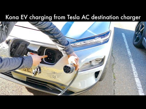 Hyundai Kona-EV charging from Tesla AC destination charger