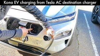 Hyundai Kona-ev Charging From Tesla Ac Destination Charger