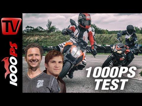 1000PS Test - Aprilia Tuono 125 vs. KTM 125 Duke Vergleich