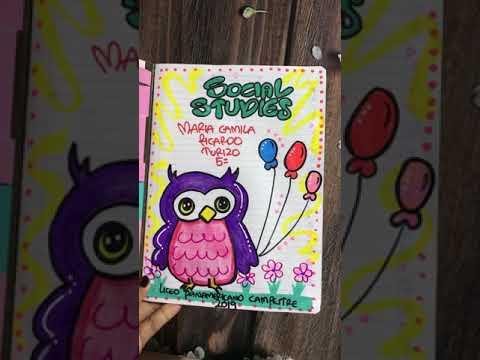 Idea de cómo marcar cuaderno para niña con motivo búho en