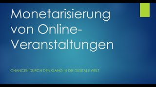 Monetarisierung von Online-Veranstaltungen