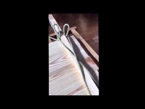 建具屋さんによるロープによる板の剝ぎ継ぎ