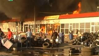 Пожар на рынке автозапчастей(В Подольском районе выгорели три тысячи квадратных метров торговых площадей., 2014-05-16T17:43:54.000Z)