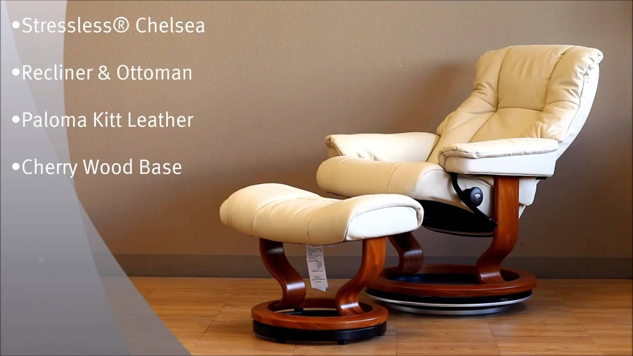 Stressless Chelsea Recliner and Ottoman in Paloma Kitt Leather and Cherry Wood Base By Ekornes & Stressless Chelsea Recliner and Ottoman in Paloma Kitt Leather and ... islam-shia.org