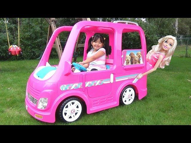 Kid Buys a Giant Barbie Dream Camper Van Vehicle Ride-On Power Wheel