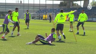 Cristiano Ronaldo completed Monday's training session with the group...