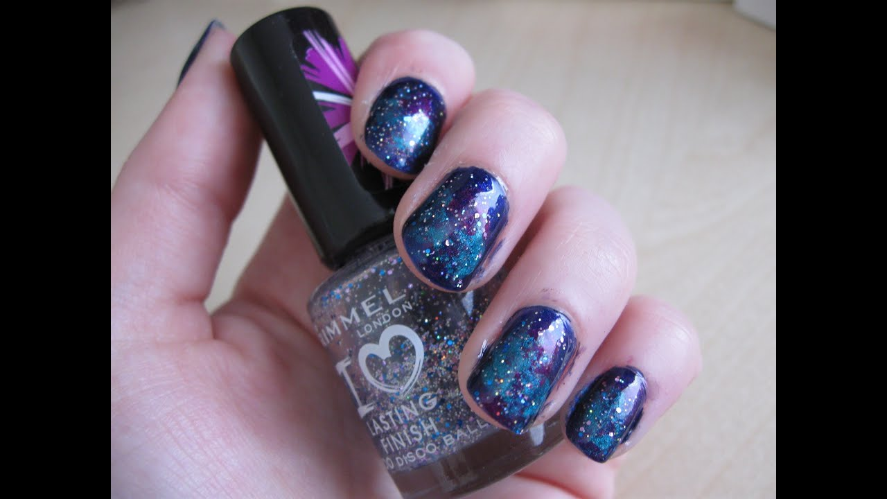 Simple and Easy Galaxy Nail Art Tutorial - YouTube