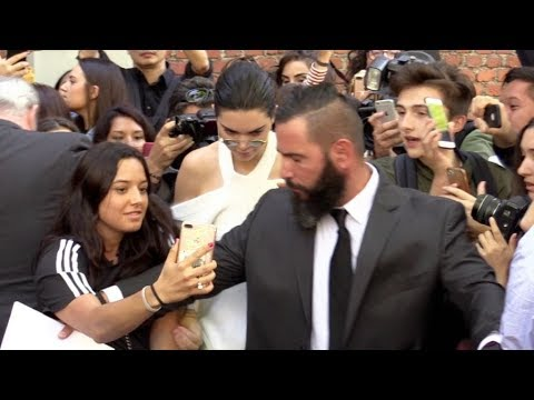 Kendall Jenner and Kris Jenner gets swarmed by the fans and press after the Fendi Fashion Show