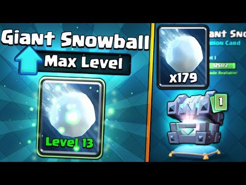 FULLY MAXED GIANT SNOWBALL UPGRADE!  Clash Royale  CHEST OPENING SPREE & MAX SNOWBALL GAMEPLAY