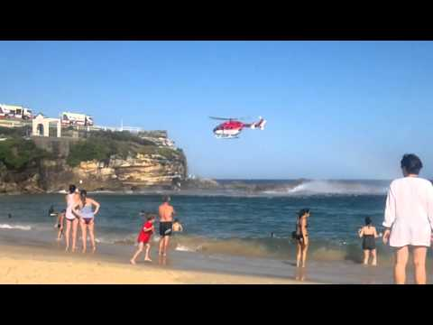 HELICOPTER RESCUE ACTION at Coogee Beach Australia