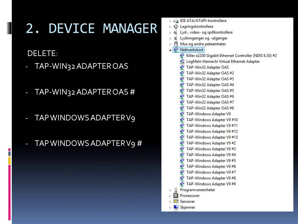 how to make tap adapter settions v9