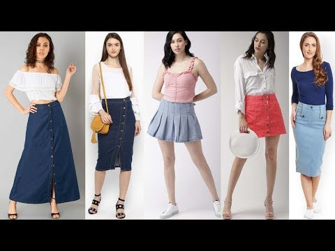 Latest denim Skirt designs & outfit ideas 2019 | Stylish and Beautiful Skirts Collection 2019 6
