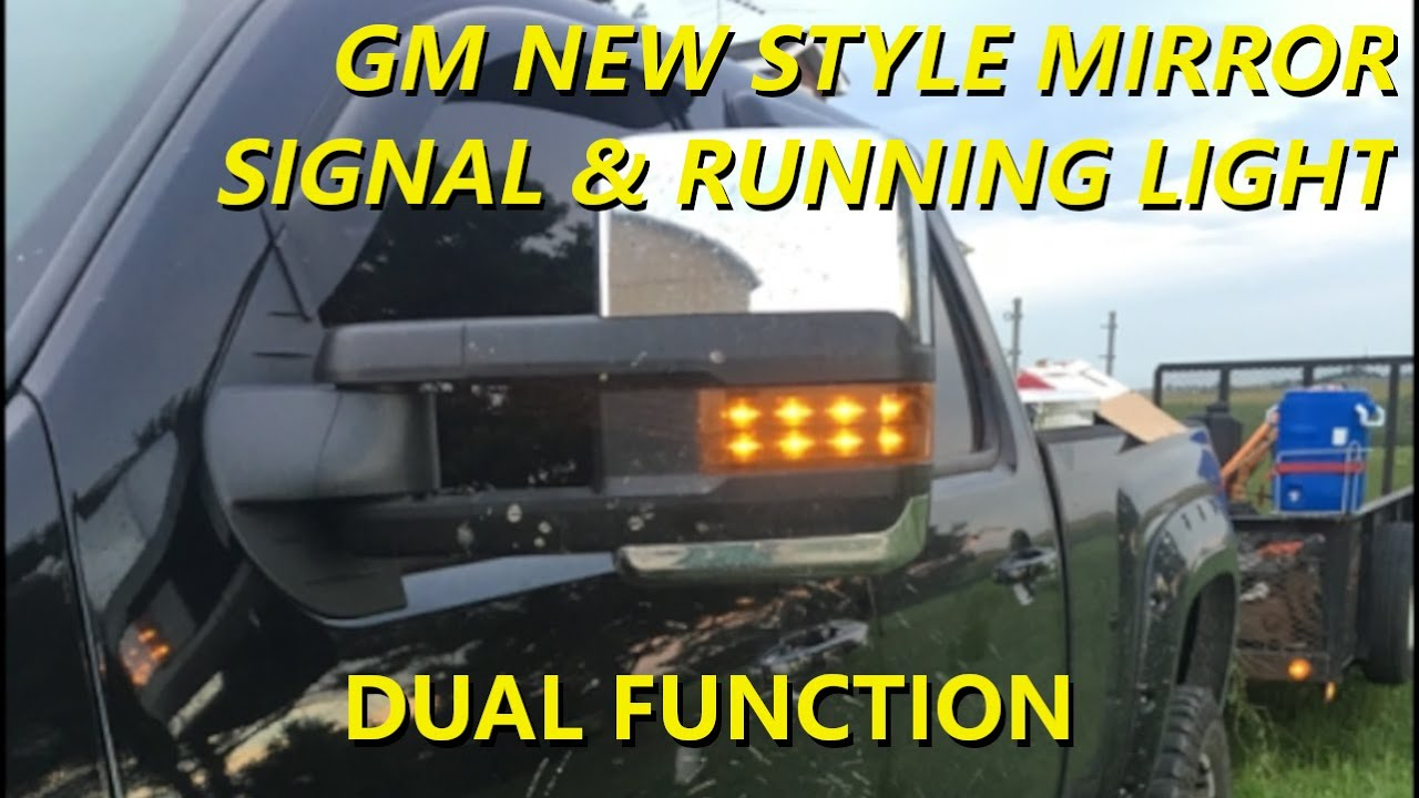 dual function gm tow mirrors signal running light installation video [ 1280 x 720 Pixel ]