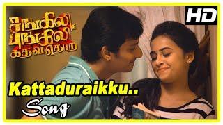 Sangili Bungili Kadhava Thorae Scenes | Kattaduraikku Song | Raadhika leaves Jiiva | Sridivya