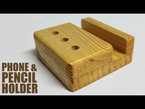 DIY Wooden Desk Organizer - Phone and Pencil Stand