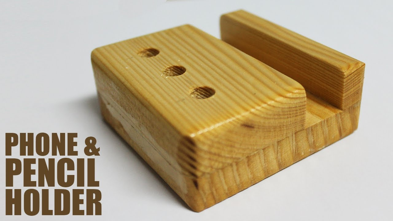 Diy Wooden Desk Organizer Phone And Pencil Stand