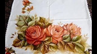 Retoque de pintura em tecido rosas