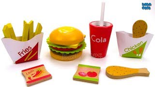 Learn Colors with Toy Cheeseburger | McDonald's Hamburger Fries Chicken Coca-Cola