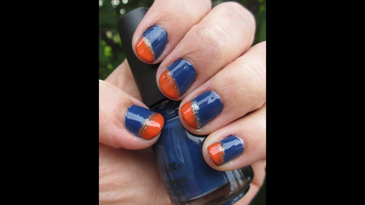 Navy Blue and Orange Nails - YouTube