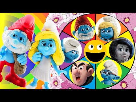 Thumbnail: Smurfs Spin The Wheel Game! Smurfette gets Slimed by Gargamel! Papa Smurf, Brainy & Clumsy Save Her!