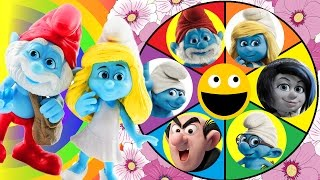 Smurfs Spin The Wheel Game! Smurfette gets Slimed by Gargamel & Papa Smurf, Brainy & Clumsy Save Her thumbnail