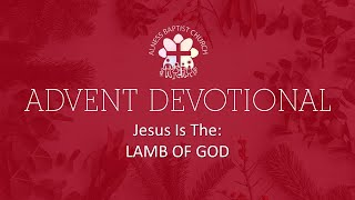Advent Devotional: Jesus Is The: Lamb Of God