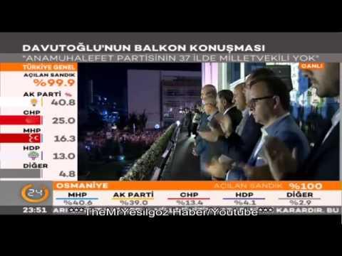 Ahmet Davutoğlu-Balkon Konuşması-7 Haziran 2015-Full Tek Parça-[16:9 Geniş Ekran]