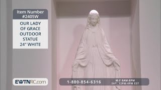 2405W_OUR LADY OF GRACE OUTDOOR STATUE 24- - WHITE thumbnail