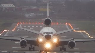 Biman Bangladesh DC-10-30 S2-ACR Crosswind Landing at Birmingham Airport (BHX-EGBB) with ATC