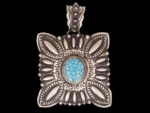 Navajo Sterling Silver And Kingman Turquoise Pendant By Darryl Becenti (#01)