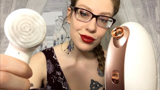 ASMR ESTHETICIAN INTAKE & TREATMENT | Skin Inspection, Brush, & Steam