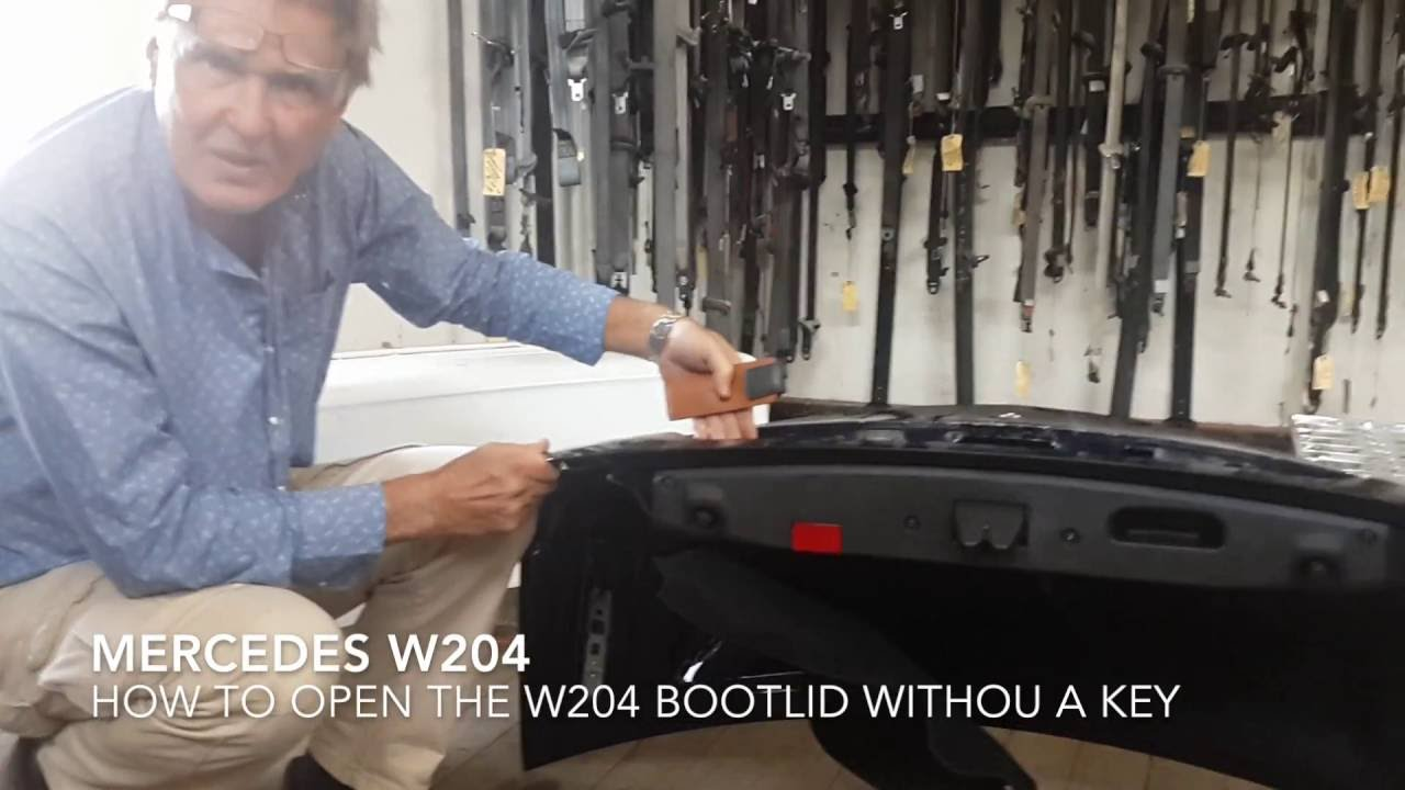 How to open mercedes trunk boot without key w204 youtube for How to unlock mercedes benz without key