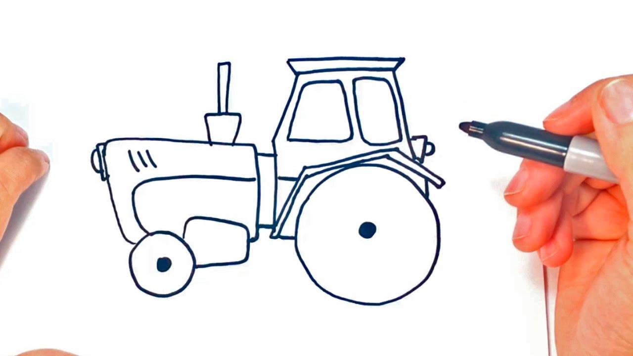 Cómo dibujar un Tractor paso a paso | Dibujo fácil de Tractor - YouTube
