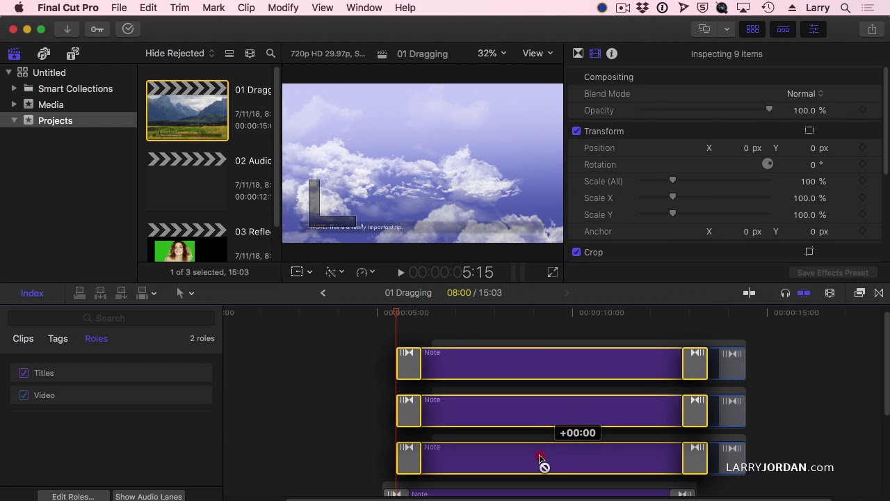 Move Multiple Titles and Transitions at Once In Final Cut Pro X - Ask Larry  Anything Webinar 259