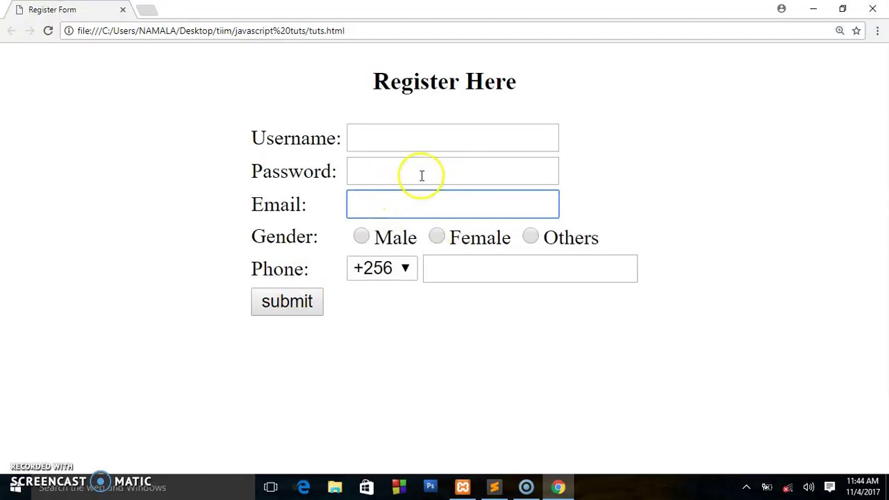 simple signup form in html code