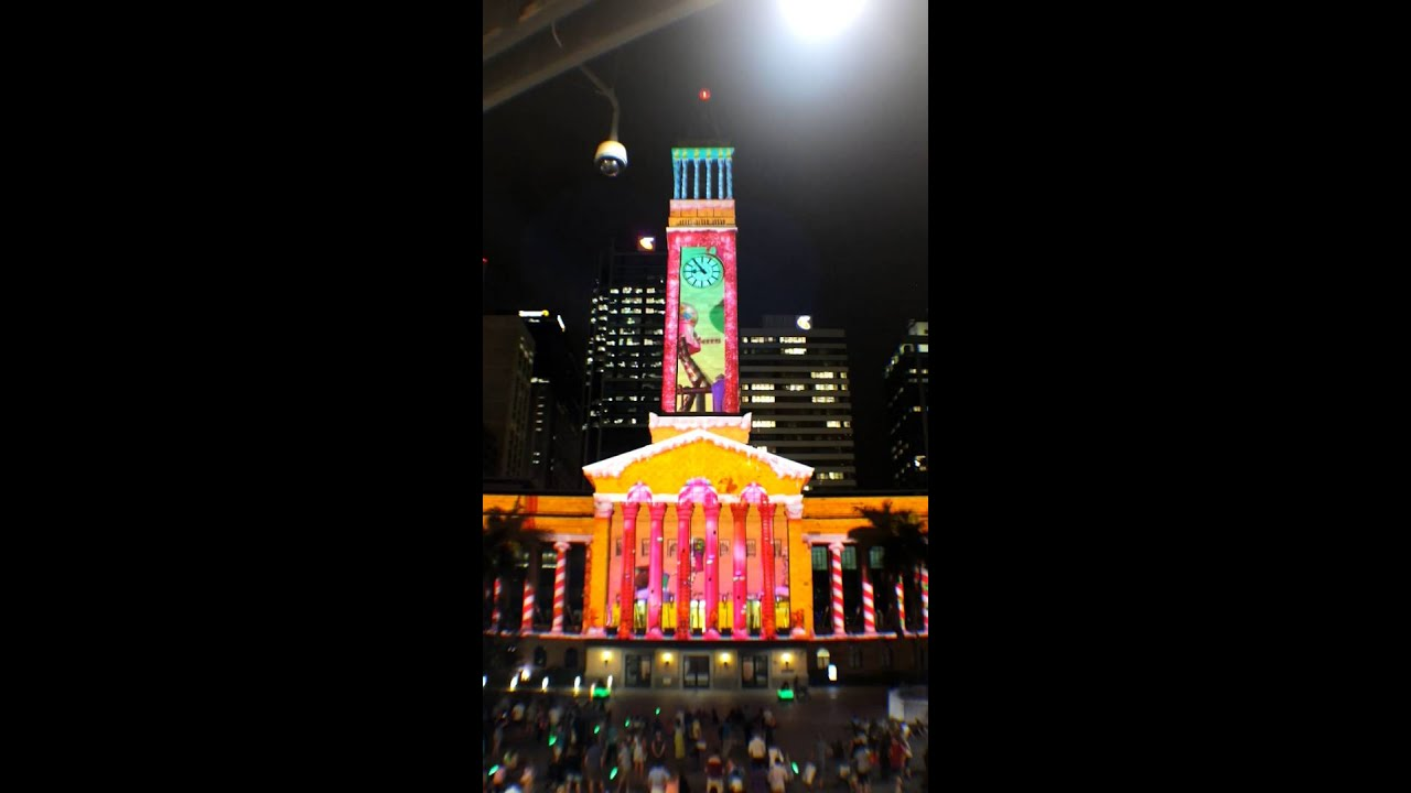2015 gold lotto brisbane city hall christmas light spectacular 3d projection show