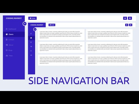 Side Navigation Bar Using HTML CSS And Jquery  -  SideBar Menu