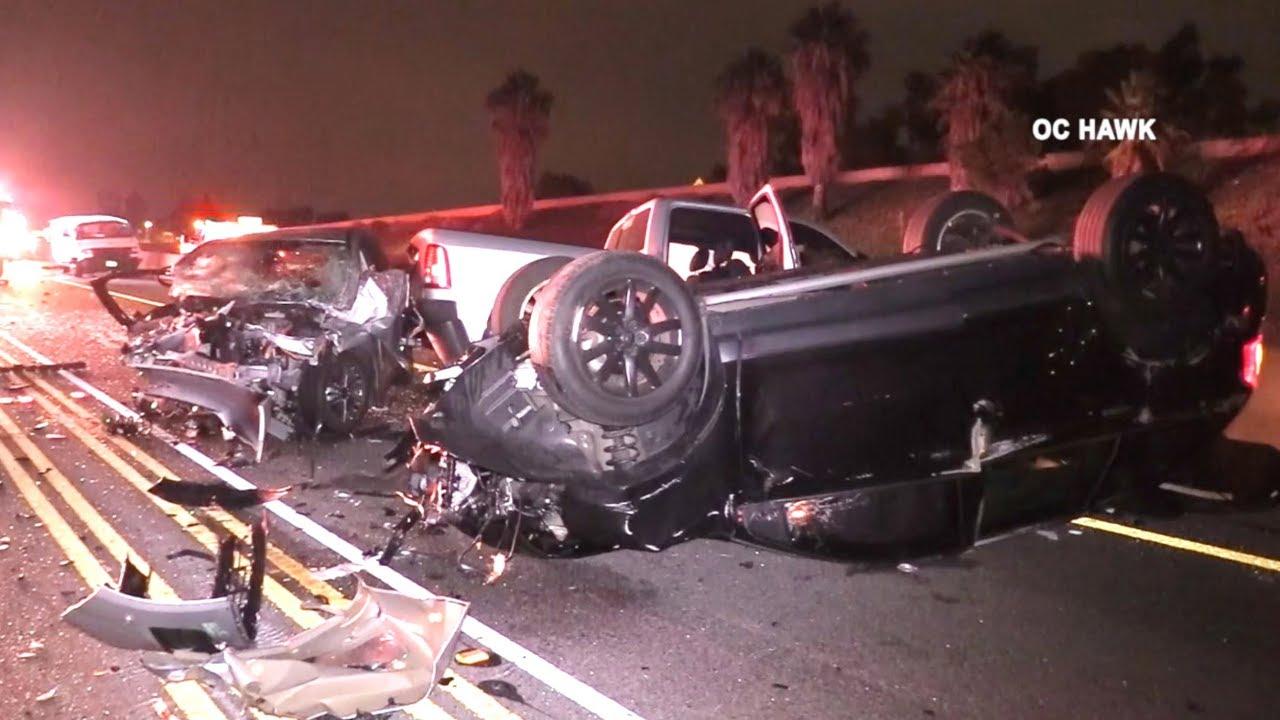 10-vehicle crash on I-5 Freeway in Irvine kills woman, injures 8 others