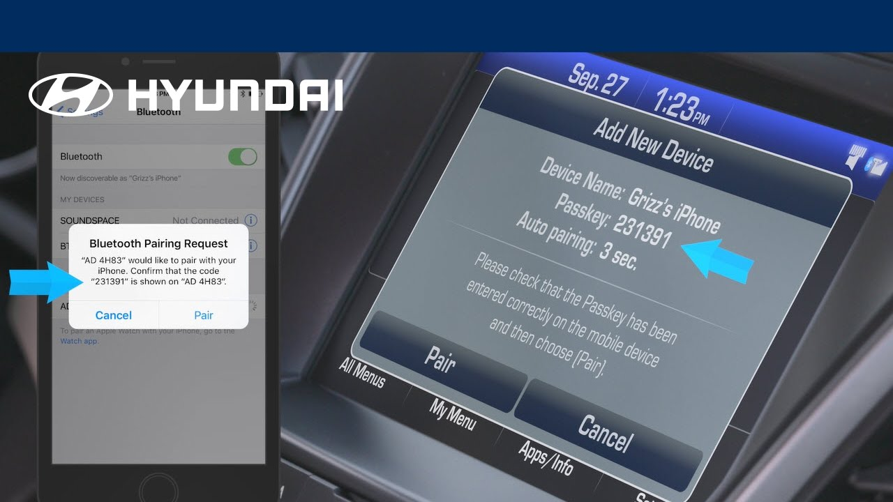 How do I connect my phone to Bluetooth in a Hyundai vehicle?