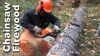 Using A Chainsaw To Cut Firewood - Gardenfork.tv