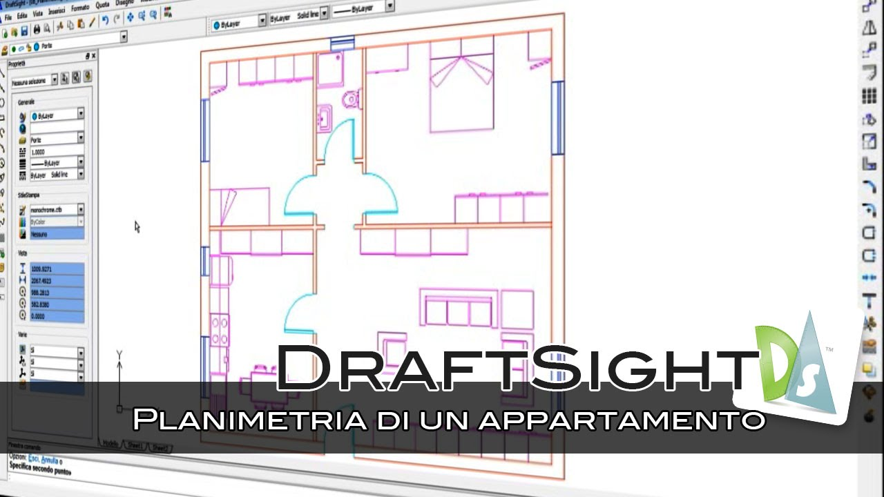 Draftsight planimetria di un appartamento youtube for Planimetria appartamento