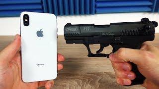 Experiment - Schreckschuss Pistole vs IPHONE XS 🔫!