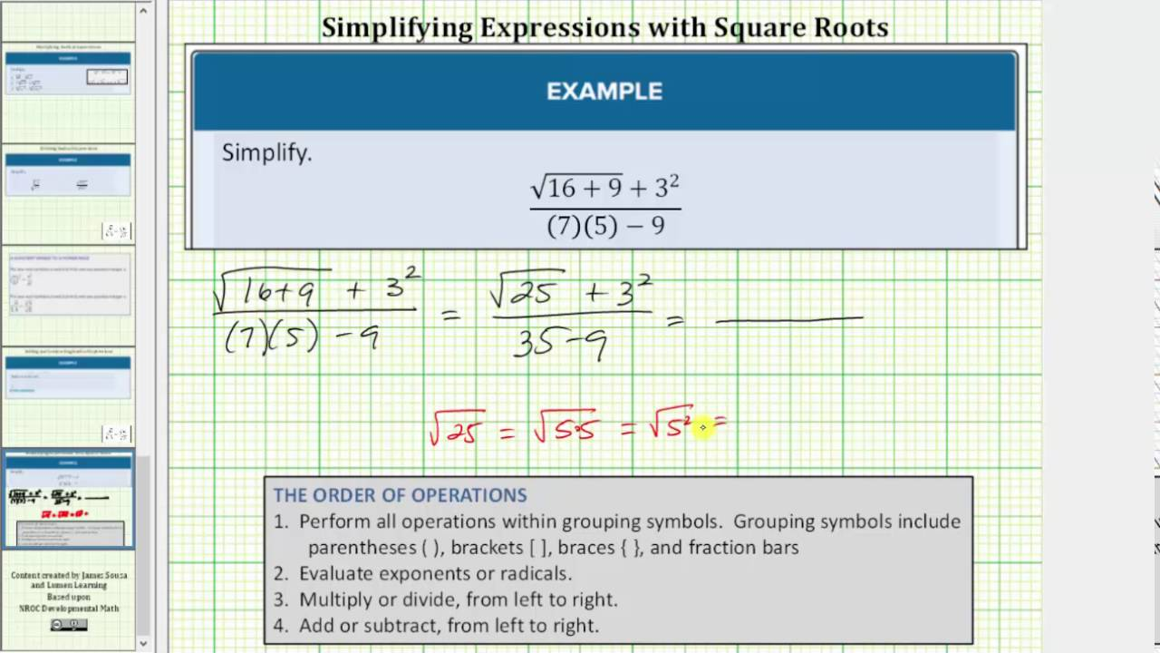 Order Of Operations With A Fraction Containing A Square Root