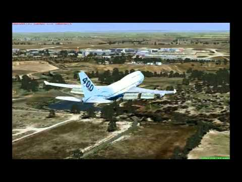 FSX with Intel Core i7 2600K 3.4 GHz. - PMDG 747 landing at