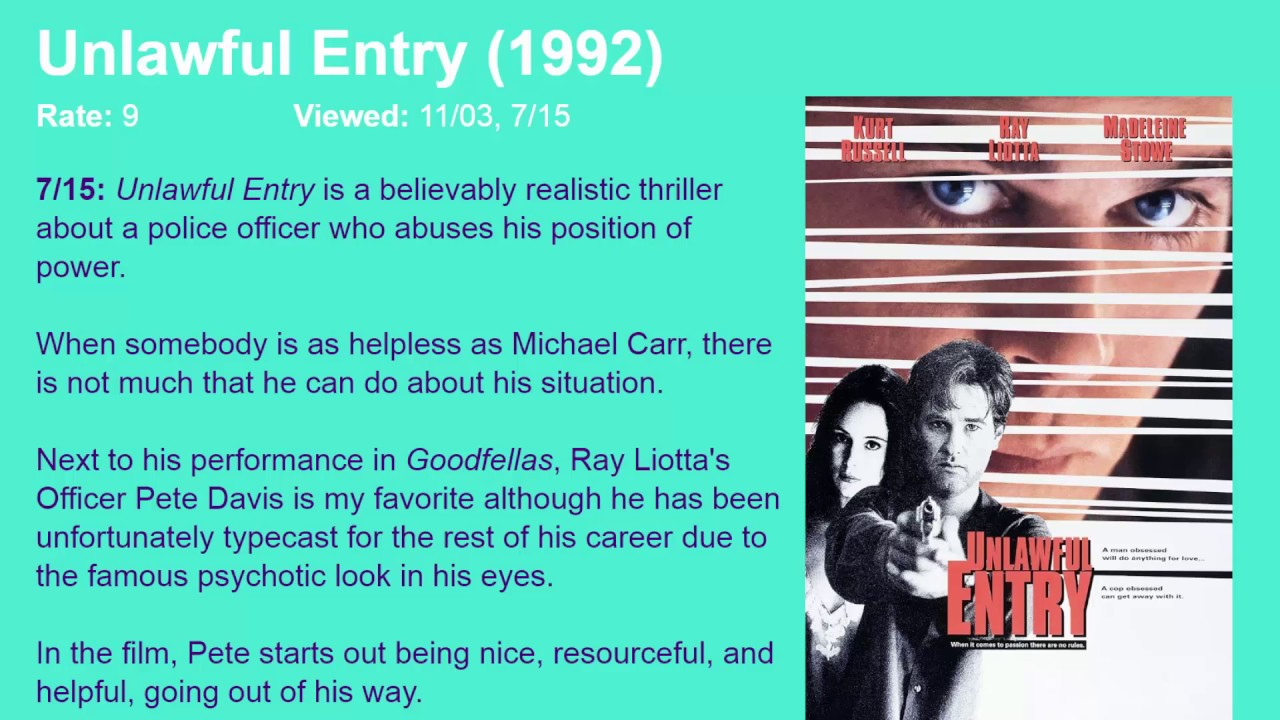 Download Movie Review: Unlawful Entry (1992) [HD]