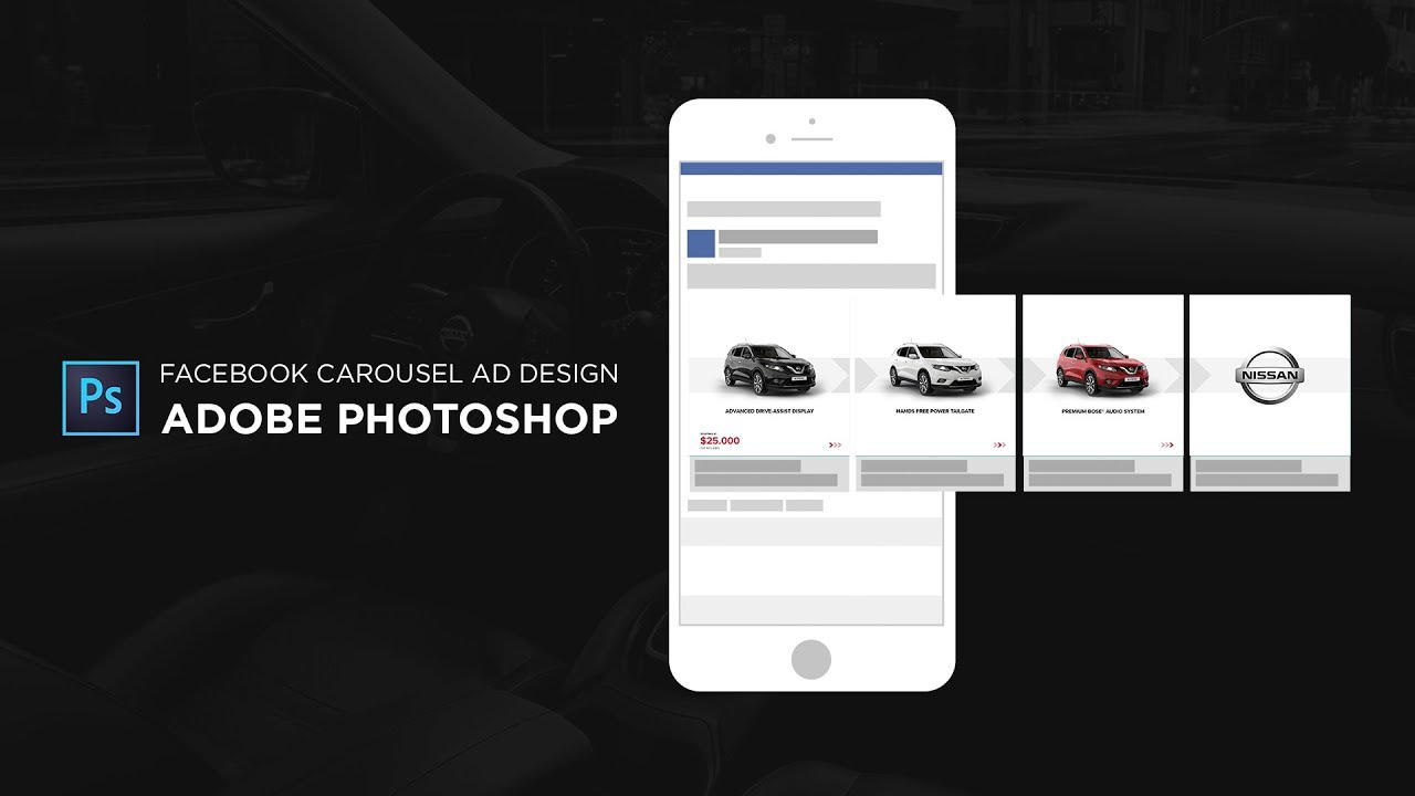 Facebook Carousel Ad Design In Adobe Photoshop CC Tutorial YouTube - Facebook ad photoshop template