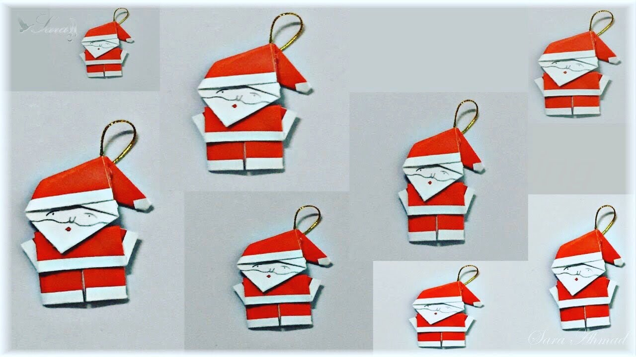 How to make origami santa claus youtube for Make origami santa claus