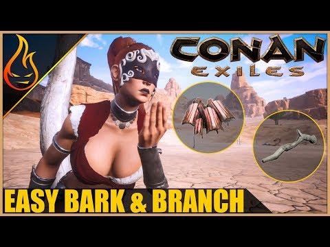 Easy Branch And Bark Harvesting Conan Exiles 2018 Beginner Tips
